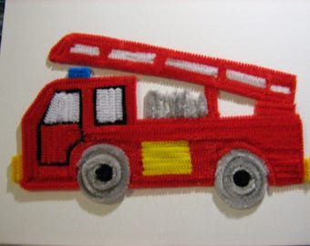 Firetruck painting in chenille yarn