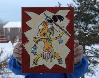 Aztec Warrior Acrylic Painting