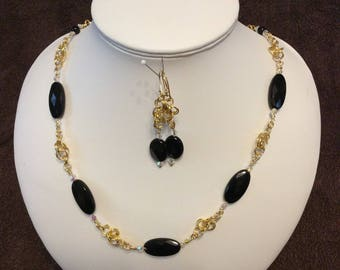 Black Agate Necklace and Earrings
