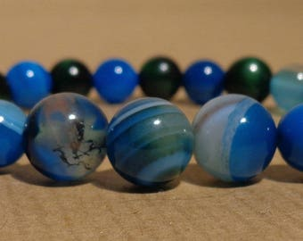 Agate tones Tigers eye, blue green bracelet, 8 and 10 mm peacock blue