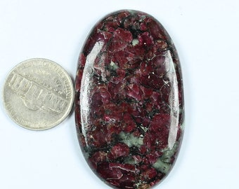 1 Pcs of 103Cts, 44x33mm Natural Eudialyte Cabochons, Best Quality Eudialyte Smooth Cabochon Jewelry Making Loose Gemstone,  #SKU2362