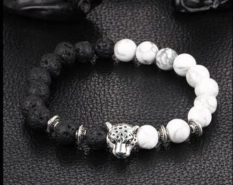Natural lava stone and  Howlite bead bracelet for Men & Woman
