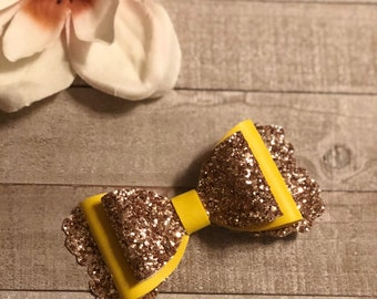 Gold and yellow bow/ glitter bow