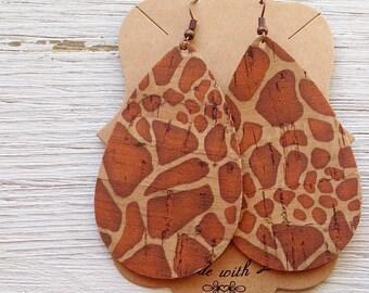 Cork Leather Teardrop Earrings, Giraffe Print Cork, Genuine Cork, Statement Earrings, Boho