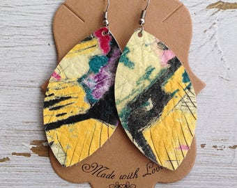 Watercolor Leather Feather Earrings, Leather Earrings, Feather Earrings, Statement Earrings, Boho