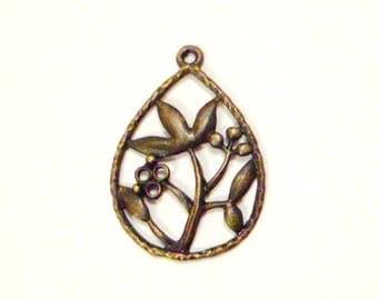 Pendant charm flowers Ajoure metal Bronze 31 mm x 21 mm