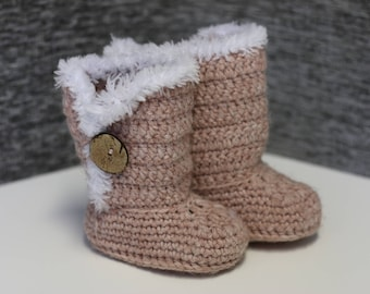 Handmade Crochet Baby Booties in Dusty Pink