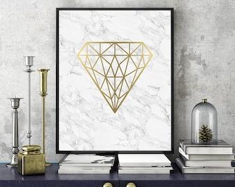 Geometric Gold Diamond Print, Diamond Art, Geometric Poster, Print, Scandinavian Print, Printable Wall Art, Home Decor, Gold, Marble Art
