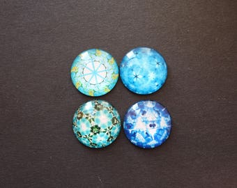 4 cabochons 25 mm glass psychedelic / ethnic blue