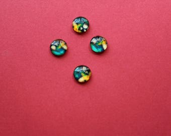 4 cabochons 10 mm multi color glass