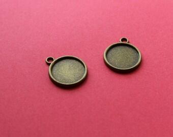 2 Supports 18mm pendentif bronze pour cabochon