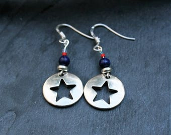 Earrings Star Silver and blue, lapis lazuli and Silver 925