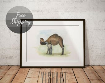 Wall paintings animals Camel Watercolor mom and baby African art poster Nursery illustration Animal lover gift Child set pictures on canvas