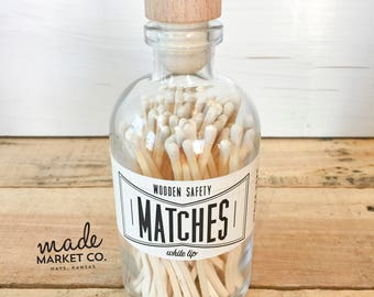 White Tip Colored Matches. Match Sticks Decorative Glass Bottle. Farmhouse Home Decor. Unique Gifts for her. Best Seller. Most Popular Item