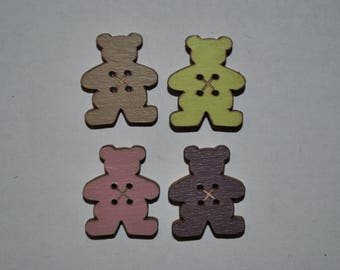 set of 4 buttons wood bear child/baby/sewing/scrapbooking/deco 55