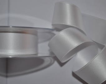 satin ribbon double sided white 40 mm / 4 cm, sold by the yard