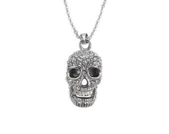 Stainless Steel Skull Bling Necklace