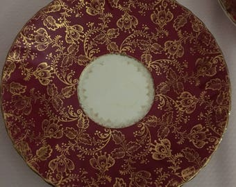 Set of 3 red and gold flower Elizabethan bone china saucers/saucer wall display/gold flowers on red fluted saucerss
