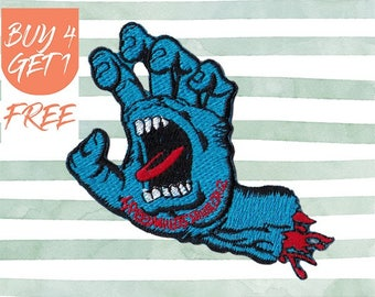Tongue Patch Skateboarding Patches Iron On Patch Embroidered Patch Bloody Hand Undead