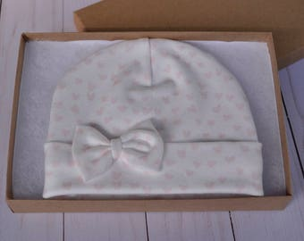 GOTS Certified Organic Cotton Baby Hat, Newborn Girl Hat