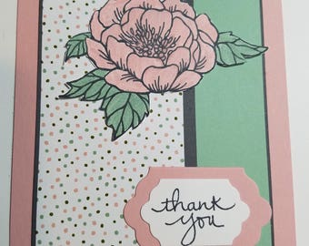 Handmade thank you card, floral