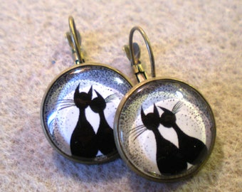 """EARRING 18 mm """"cats in love"""" on support metal bronze"""