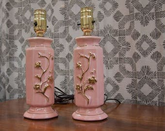 Pair of Pink Mid Century Table  Lamps