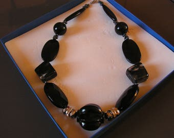 Necklace black, grey pearls and Rhinestones, crew neck