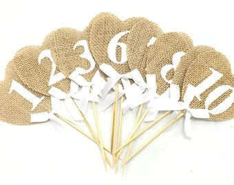 Set of 10 hearts in Burlap 1 to 10 table numbers