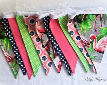 Flamingos in Florida tropical inspired fabric bunting / pennant flags - green, pink & dark navy