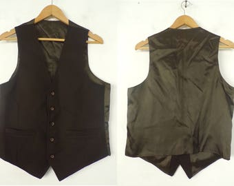 90s Brown Formal Vest Mens Medium, Dark Brown Vest, Formal Vest, Mens Vest, Suit Vest, Brown Vest, Formal, Button Front Vest, 90s Vest