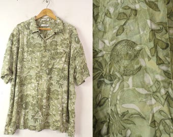 90s Green & White Floral Hawaiian Shirt Mens XXL, Hawaiian Shirt, Green Floral Shirt, Rayon Shirt, Summer Shirt, Beach Shirt, Hawaiian, 90s
