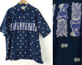 90s Blue & White Tiki Print Hawaiian Shirt Mens 2XL, Summer Shirt, Beach Shirt, Mens Hawaiian Shirt, Tikis, Hawaii, Casual, Button Down, 90s
