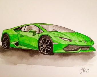 Original Car Supercar Lamborghini Aventador Watercolour Painting