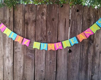Fiesta banner, feliz cumpleanos banner