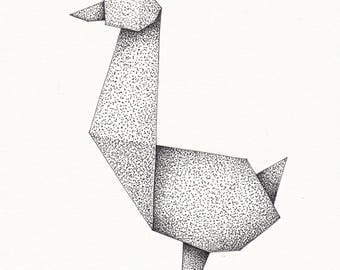Origami Goose (pen and ink drawing)