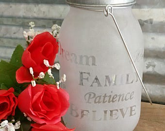 Lovely Frosted and Etched Glass Mason Jar with Frog Lid for Flowers- Includes Handle