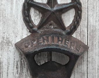"Rustic Cast-Iron Texas Star ""Open Here"" Wall Bottle Opener"