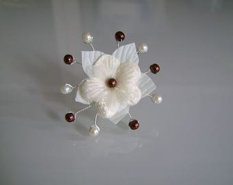 PIC/jewelry/pin/clip/bun hair accessory p dress bride wedding/party/ceremony/cocktail ivory/chocolate/brown flower beads