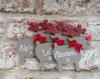 Personalised Reindeer Decoration, RED.