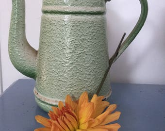 Enamel coffee pot, mottled green unusual colouring.  Very attractive