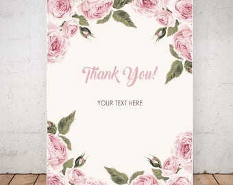 Thank You Card. Birthday Invitations. Floral Thank You Card. Birthday Invitations for Women. Custom Thank You Card.