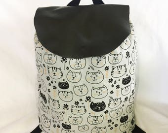 Leather Flap Cat Backpack