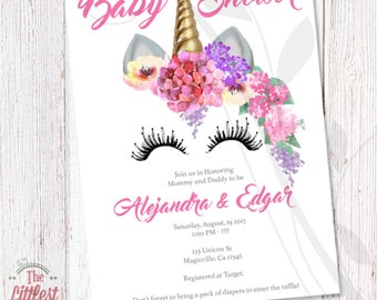 Unicorn Invitation   Baby Shower Invite   DIGITAL FILE