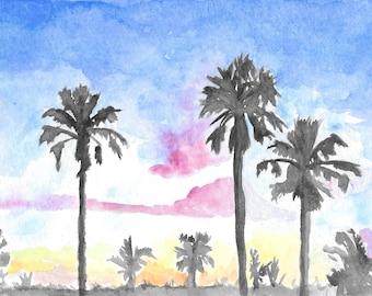 "Bahama Sunrise Watercolor print [4"" x 6"" print with 5""x7"" white mat] // landscape, nature, island, tropical"