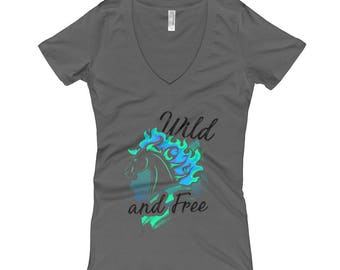 Wild And Free..., Womens V-Neck T-shirt
