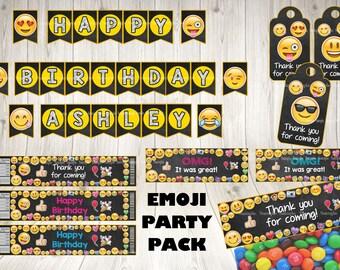 EMOJI PACKAGE.Emoji printable party pack.Emoji birthday.Emoji decoration.Emoticons decoration. Emoji supplies.Emoji themed party