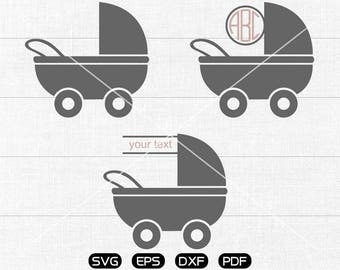 Pram Svg, stroller svg, motherhood svg, baby pram Clipart, Monogram Frame cricut, cameo, silhouette cut files commercial & personal use