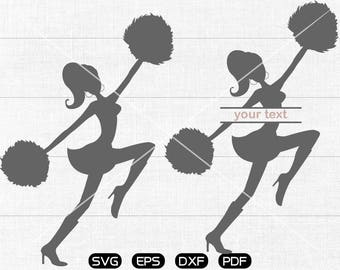 Cheerleader SVG, Cheerleader Clipart, Monogram cricut, silhouette cut files commercial use