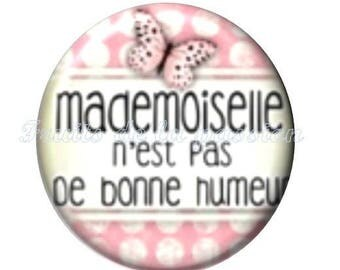 Set of 2 cabochon 20mm round, Ms., Miss, pink